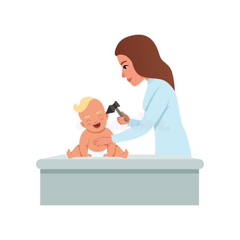 El pediatra de sexo femenino en la capa blanca que comprueba el oído infantil del bebé con el otoscopio, atención sanitaria para  libre illustration