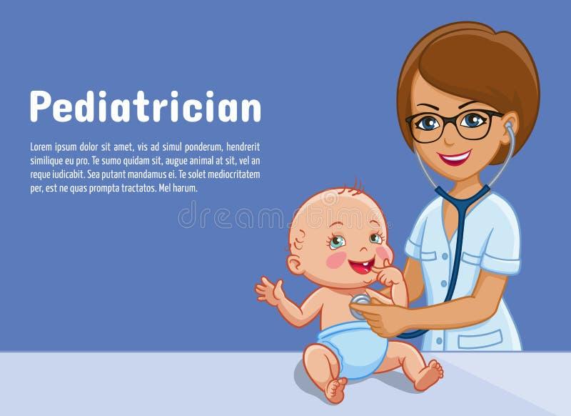 El pediatra y el bebé vector el ejemplo de la historieta de la medicina de la pediatría para el diseño plano médico recién nacido libre illustration