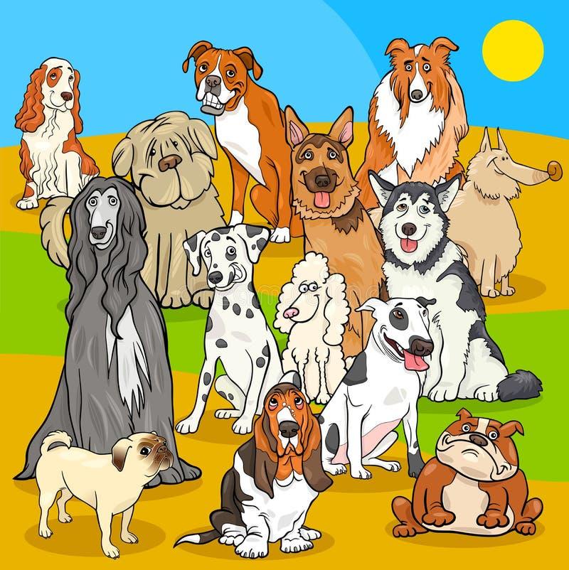 El pedigrí persigue el grupo de los personajes de dibujos animados ilustración del vector