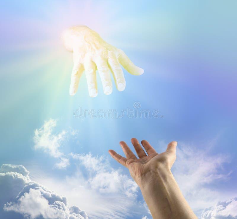 El pedir una mano amiga divina imagen de archivo libre de regalías