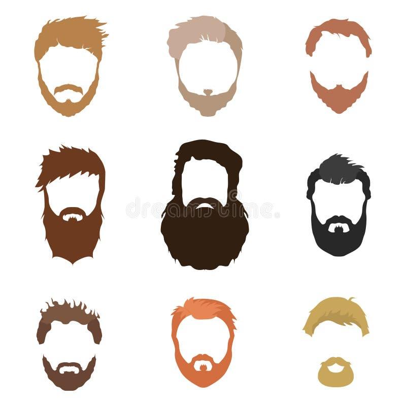 El peinado de los hombres de moda, barba, cara, pelo, máscaras del recorte, una colección de iconos planos ilustración del vector