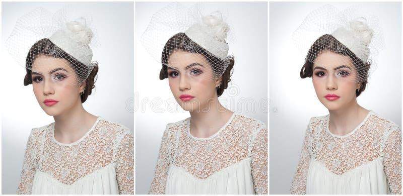 El peinado y compone - el retrato hermoso del arte de la chica joven Morenita linda con el casquillo y el velo blancos, tiro del  fotos de archivo