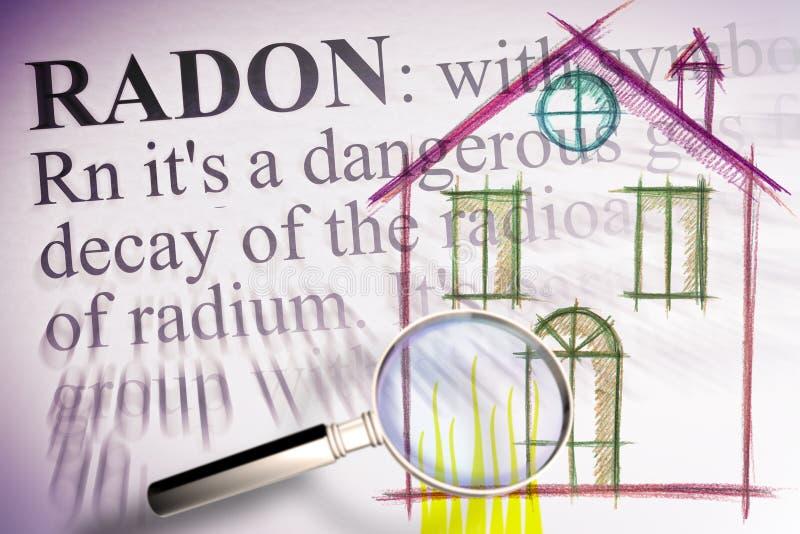 El peligro del gas del rad?n en nuestros hogares - las primeras plantas de los edificios son expuestos m?s al gas del rad?n - eje ilustración del vector