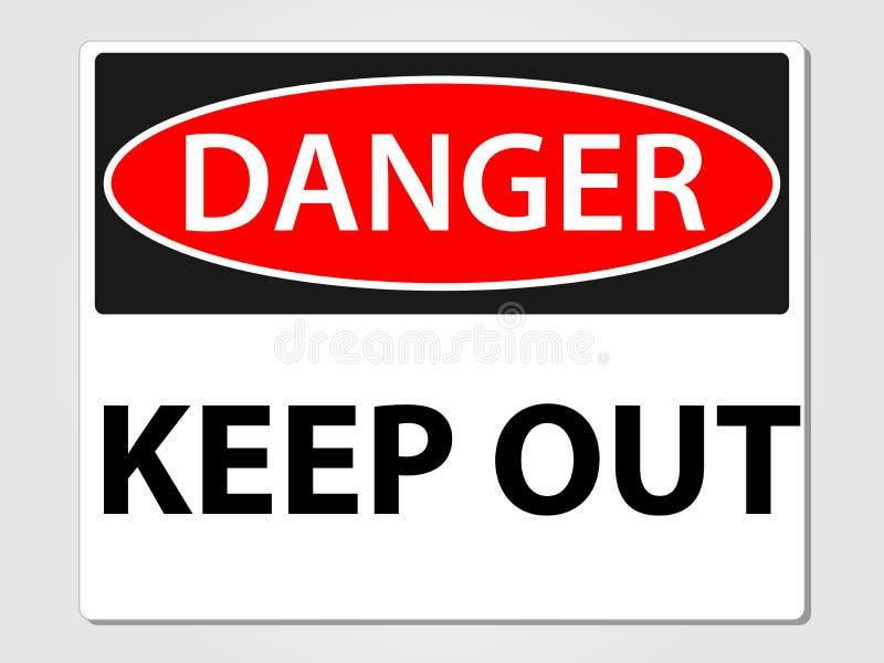 El peligro guarda hacia fuera la muestra en un fondo gris ilustración del vector