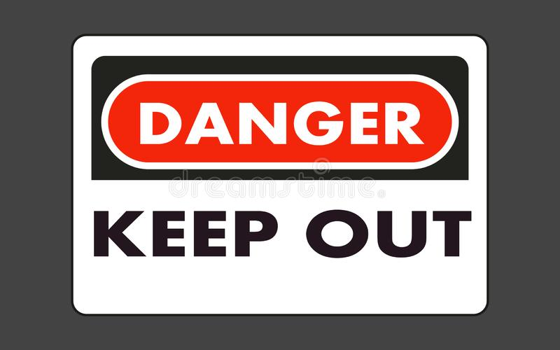 El peligro guarda hacia fuera la placa libre illustration