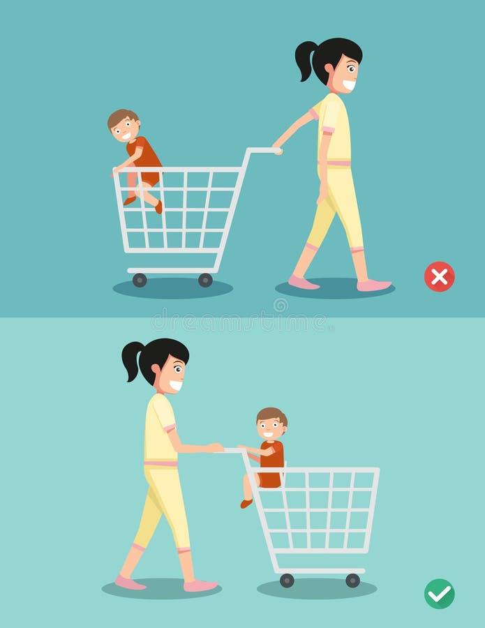 El peligro y la seguridad para el niño se sientan en el carro de la compra, vector stock de ilustración