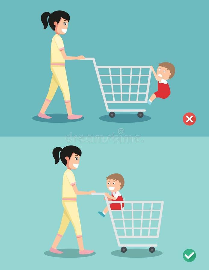 El peligro y la seguridad para el niño se sientan en el carro de la compra stock de ilustración