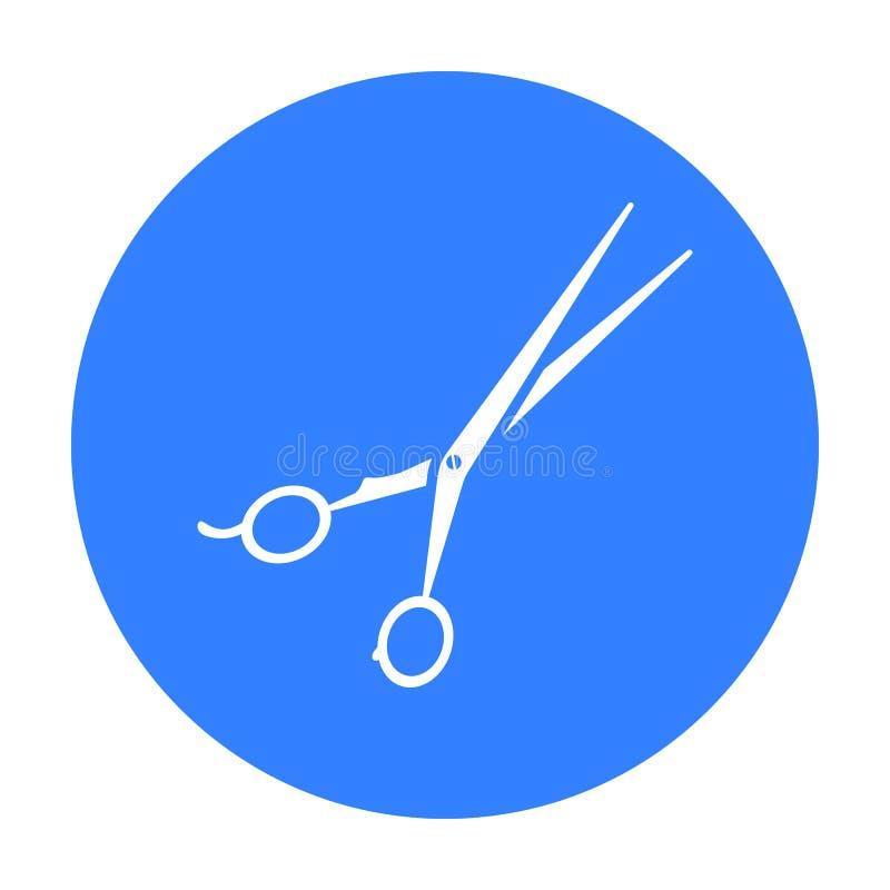 el Pelo-corte esquila el icono en estilo negro aislado en el fondo blanco Ejemplo del vector de la acción del símbolo de Hairdres ilustración del vector