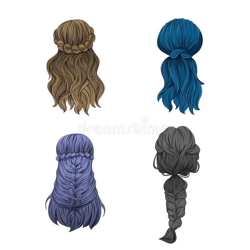 El pelo de la muchacha en una variedad de estilos stock de ilustración