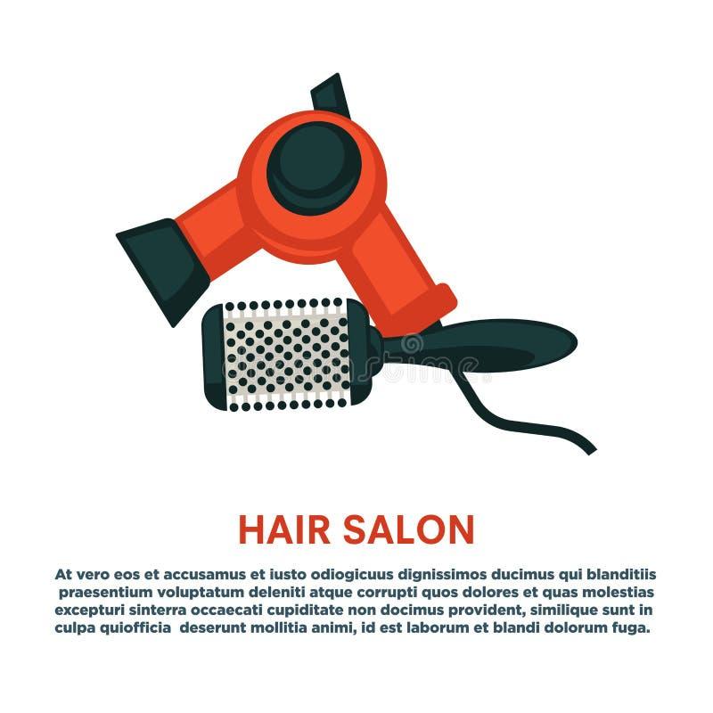 El pelo que diseña el equipo del cepillo para el pelo del secador del peluquero de la mujer equipa el icono aislado plano del sal stock de ilustración