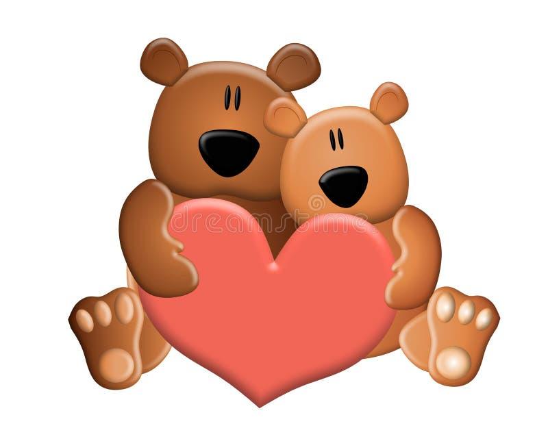 El peluche lleva el corazón de la tarjeta del día de San Valentín de la explotación agrícola stock de ilustración