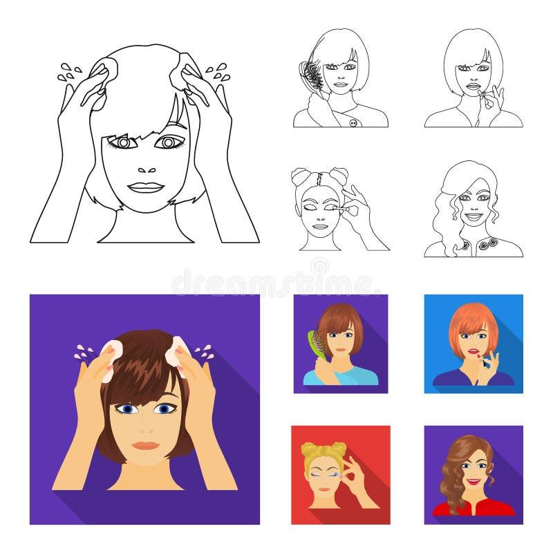 El peluquero, el cosmético, el salón, y el otro icono del web en el esquema, estilo plano Medios, higiene, iconos del cuidado en  stock de ilustración