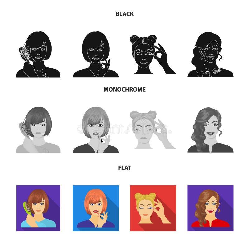 El peluquero, el cosmético, el salón, y el otro icono del web en estilo negro, plano, monocromático Medios, higiene, iconos del c stock de ilustración
