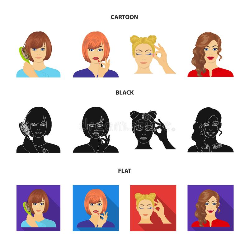 El peluquero, el cosmético, el salón, y el otro icono del web en la historieta, negro, estilo plano Medios, higiene, iconos del c ilustración del vector