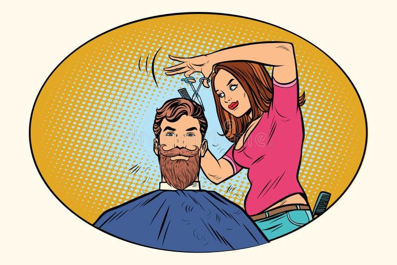 El peluquero de la mujer corta al inconformista barbudo libre illustration