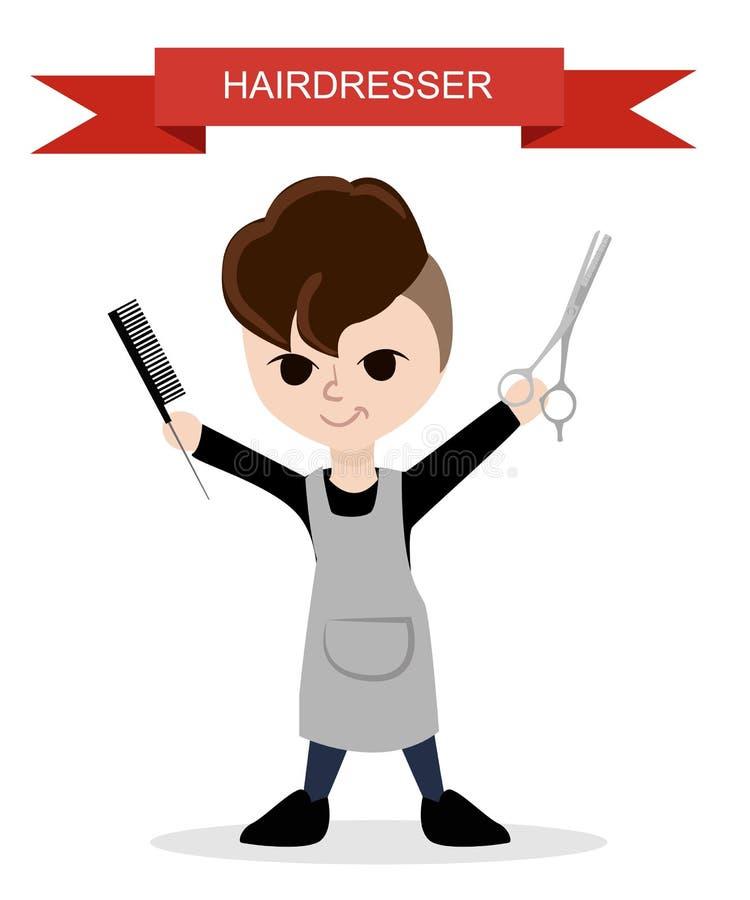 El peluquero de moda Peluquero plano libre illustration