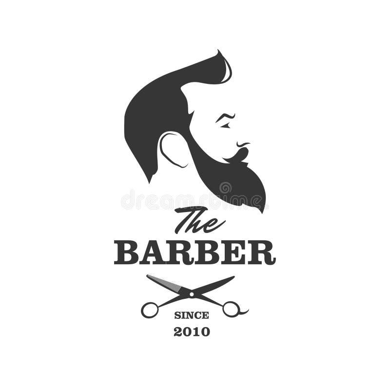 El peluquero Hombre hermoso con la barba y el bigote Tijeras Peluquería de caballeros stock de ilustración