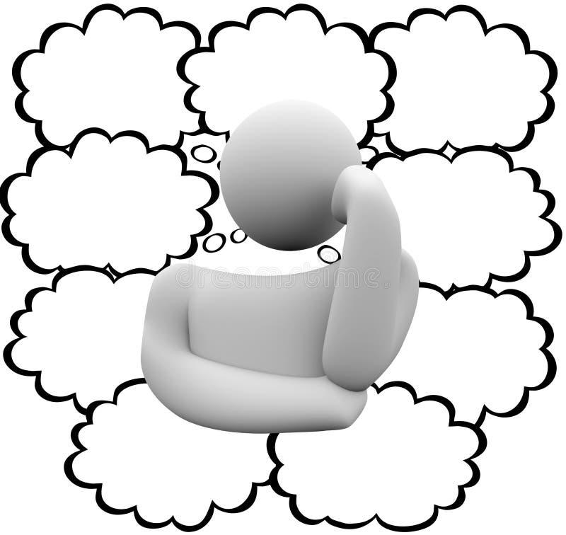 El pensamiento del pensador se nubla las burbujas que piensan a Person Many Ideas Blank stock de ilustración