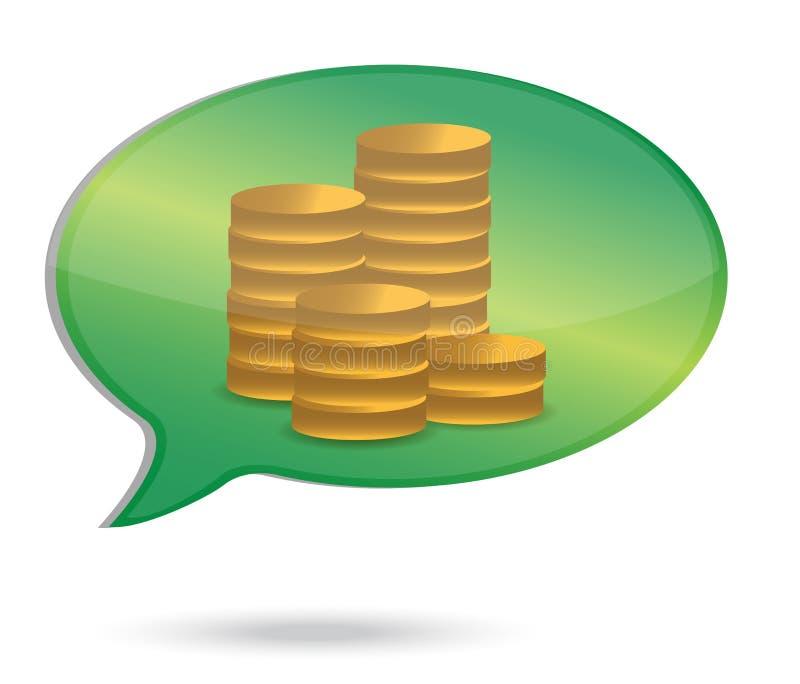 El pensamiento en dinero acuña el ejemplo ilustración del vector