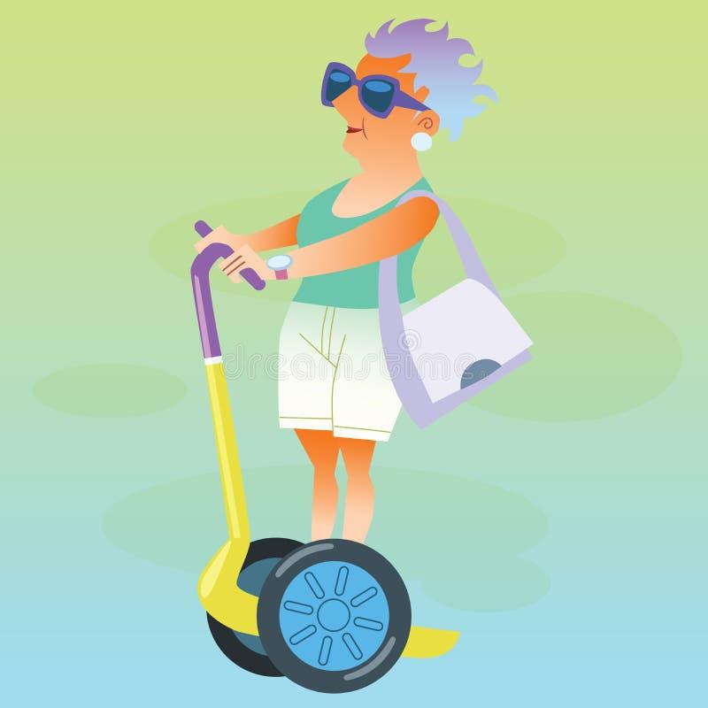 El pensionista femenino en las vacaciones va en la vespa eléctrica ilustración del vector