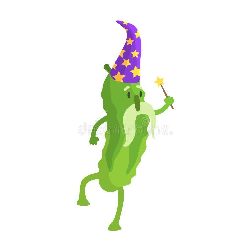 El pepino en traje del mago con la vara mágica, parte de verduras en fantasía disfraza la serie de caracteres tontos de la histor ilustración del vector