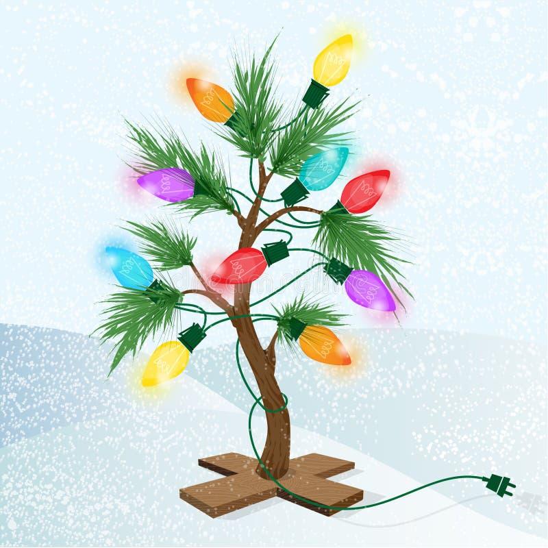 El pequeño árbol de navidad colorido en un soporte con brillar intensamente se enciende stock de ilustración