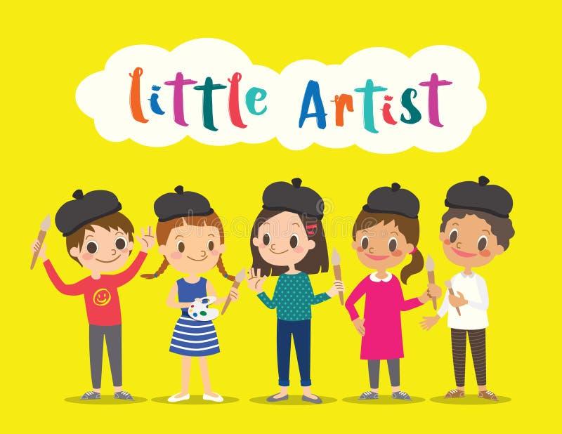 el pequeño artista, niños de los niños con la pintura equipa la historieta ilustración del vector