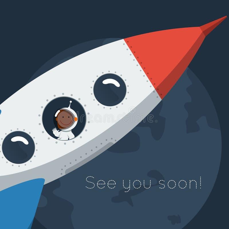 El pequeño astronauta divertido flotó en espacio con el cohete stock de ilustración