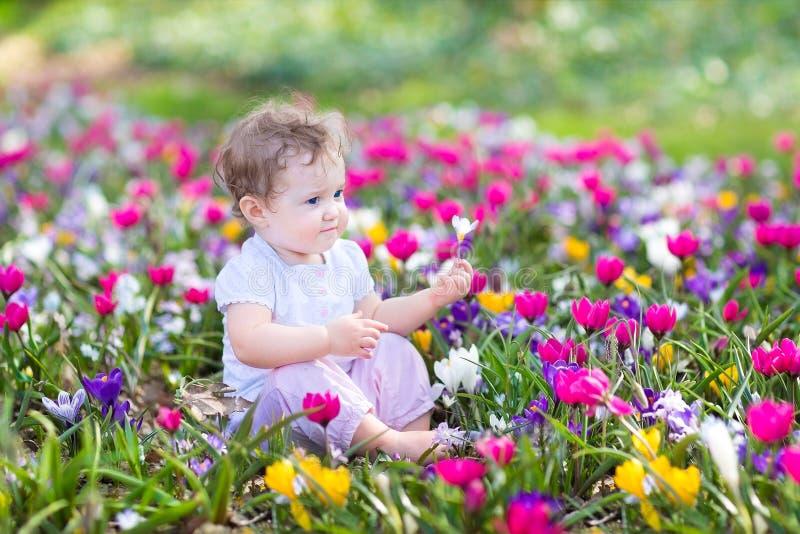 El pequeño bebé rizado lindo que se sienta entre la primavera florece imagen de archivo