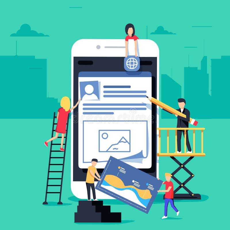 El pequeño carácter de la gente adornó tecnología móvil diseño plano del ejemplo del concepto del vector ilustración del vector