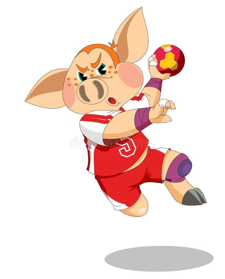 El pequeño cochinillo es jugador del balonmano ilustración del vector