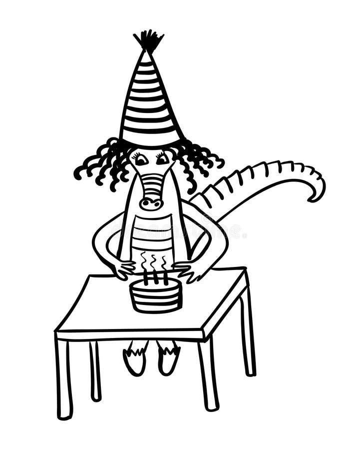 El pequeño cocodrilo celebra cumpleaños con una torta y las velas dan el ejemplo cómico exhausto ilustración del vector