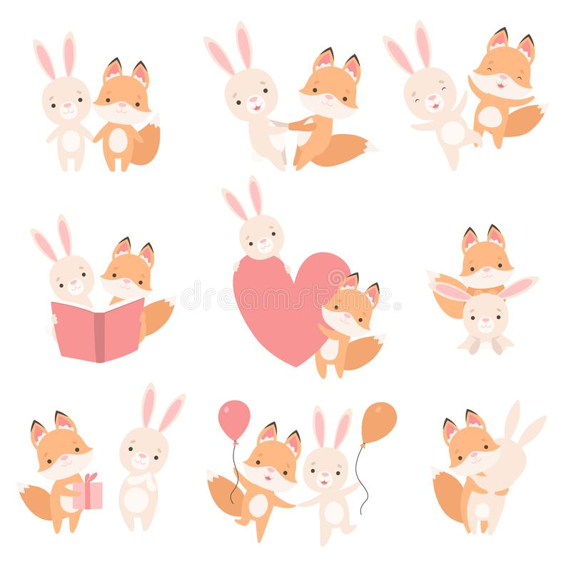 El pequeño conejito blanco precioso y el Fox Cub que se divertía juntos fijaron, los mejores amigos lindos, conejo adorable e his stock de ilustración