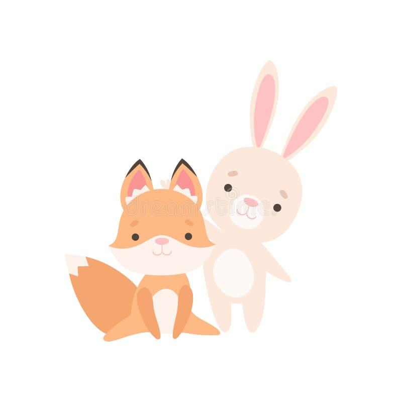 El pequeño conejito blanco precioso y el Fox Cub son mejores amigos, conejo adorable y ejemplo del vector de los personajes de di libre illustration