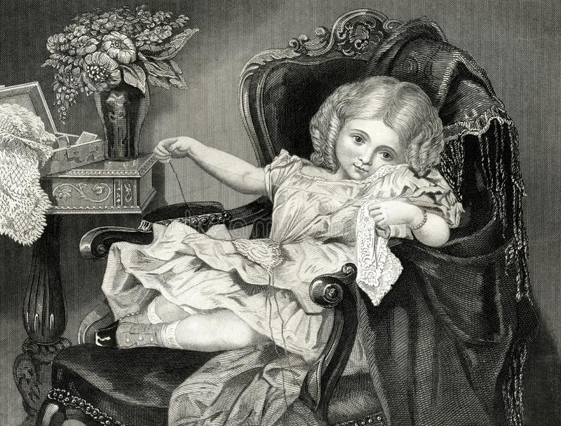 El pequeño ejemplo victoriano revoltoso del vintage de la muchacha libre illustration