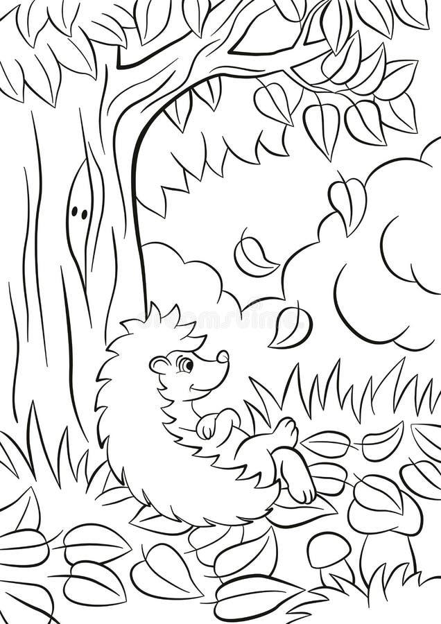 El pequeño erizo bueno lindo se sienta cerca del árbol y sonríe stock de ilustración