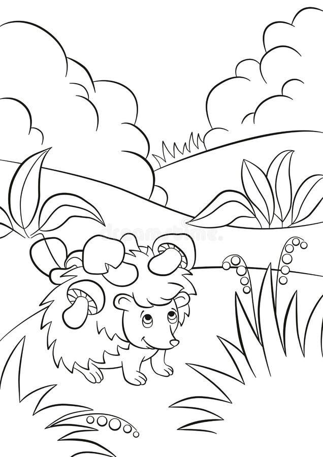 El pequeño erizo bueno lindo tiene las setas en las agujas stock de ilustración