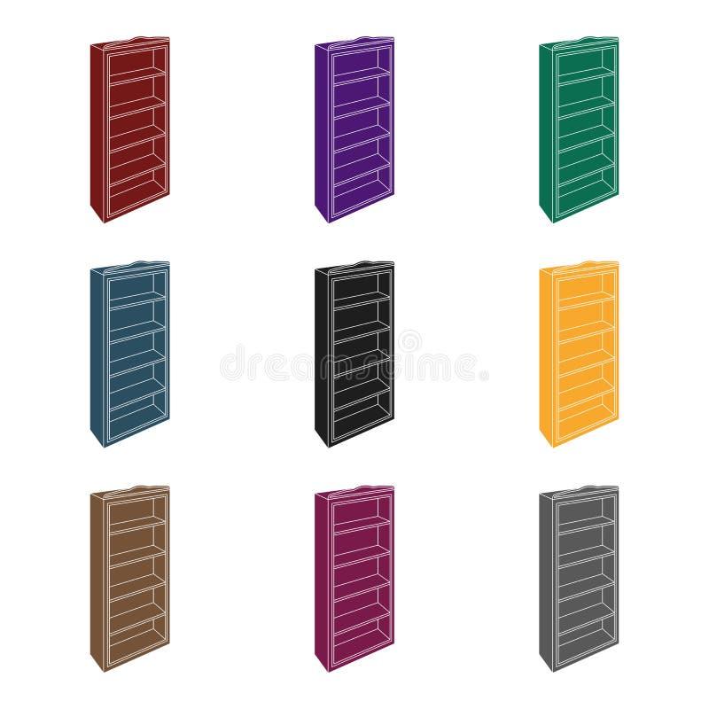 El pequeño estante para libros Biblioteca casera Libros a leer Icono de los muebles del dormitorio solo en la acción negra del sí ilustración del vector