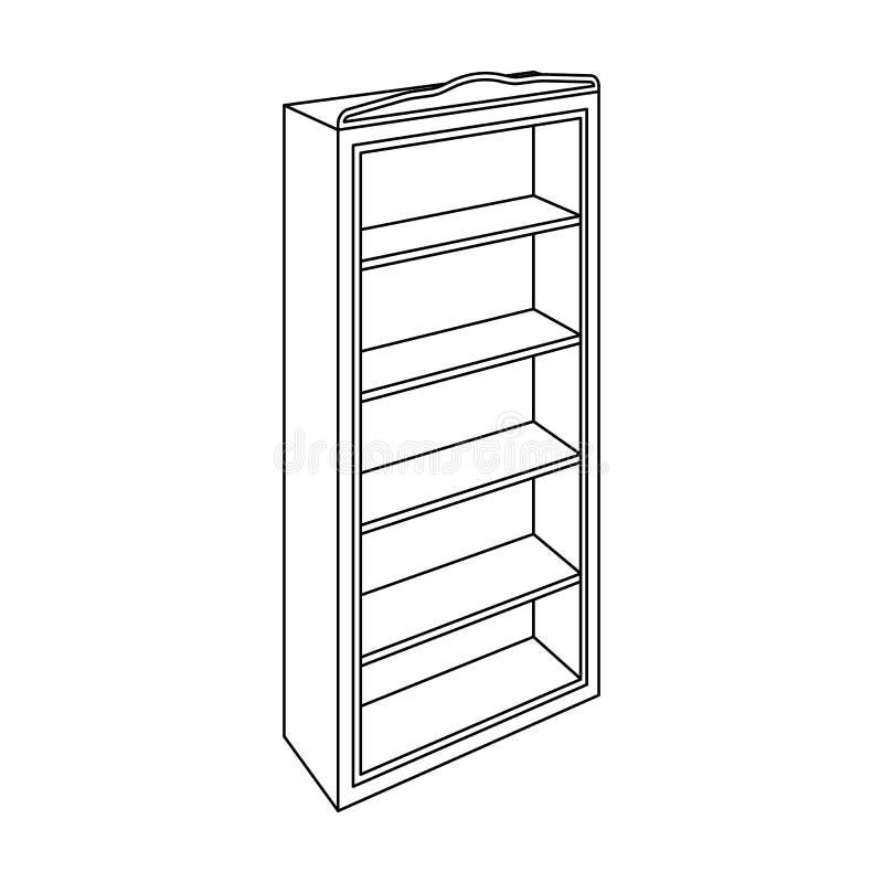 El pequeño estante para libros Biblioteca casera Libros a leer Icono de los muebles del dormitorio solo en la acción del símbolo  stock de ilustración