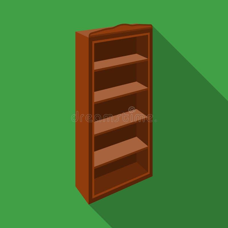 El pequeño estante para libros Biblioteca casera Libros a leer Icono de los muebles del dormitorio solo en la acción plana del sí stock de ilustración