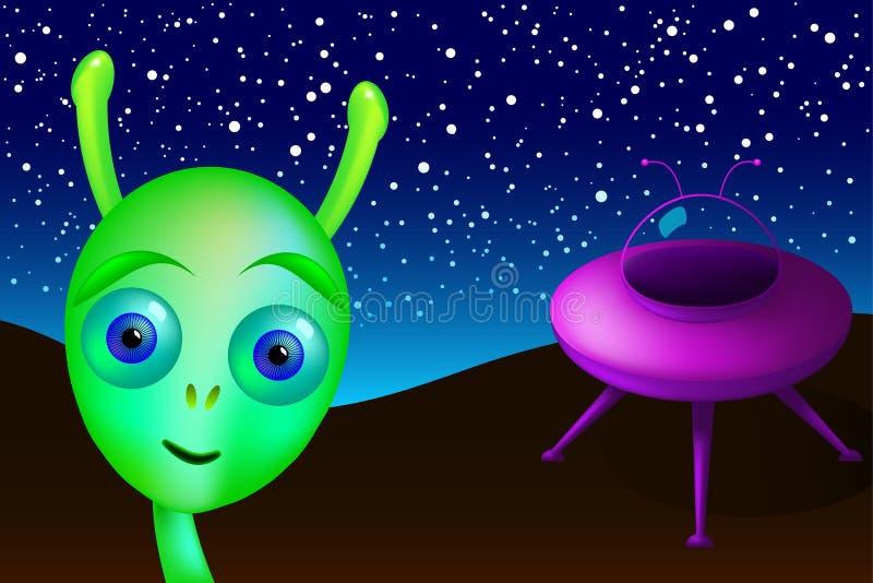 El pequeño extranjero verde aterrizado con el platillo visita la tierra stock de ilustración