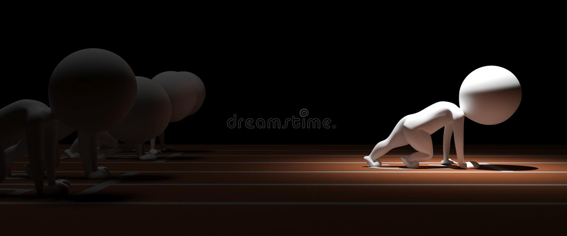 el pequeño hombre 3d corre la carrera con ventajas agregadas stock de ilustración