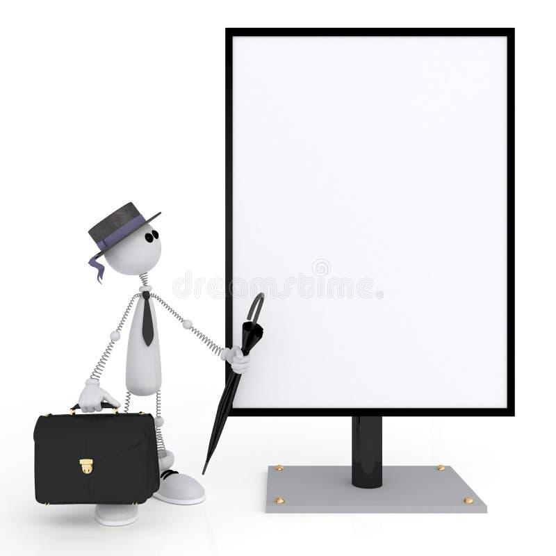 El pequeño hombre 3D con un letrero. stock de ilustración