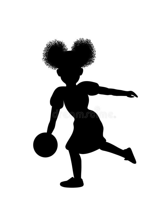 El peque?o jugador de bolos afroamericano negro de la muchacha lanza un ejemplo de la silueta del vector del cricut de la bola qu ilustración del vector