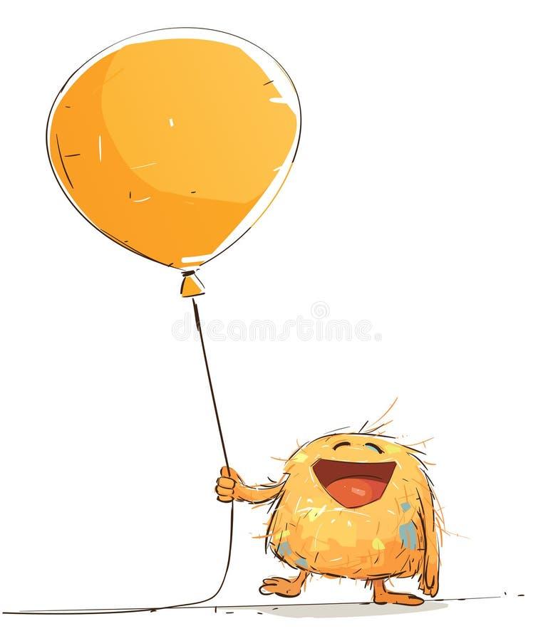 El pequeño monstruo feliz está sosteniendo un globo libre illustration