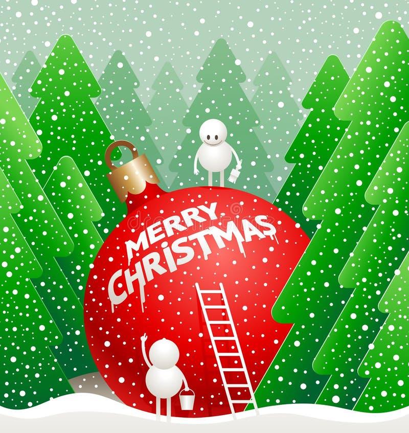 El pequeño muñeco de nieve lindo escribe un saludo stock de ilustración