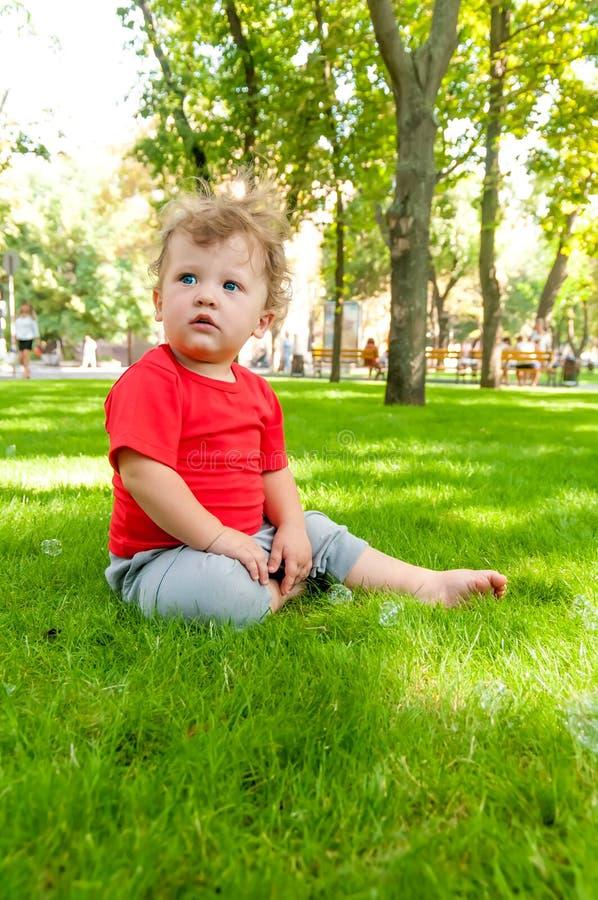 El pequeño niño de pelo rizado se está sentando en la hierba verde fotografía de archivo