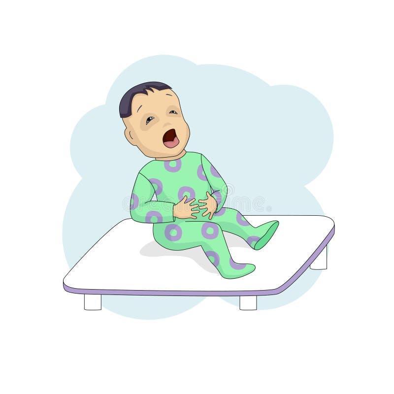 El pequeño niño en los gritos de la clínica, se aferra en el estómago stock de ilustración