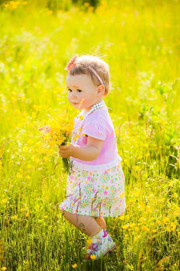El pequeño niño que juega con el campo florece el día de la primavera o de verano foto de archivo libre de regalías