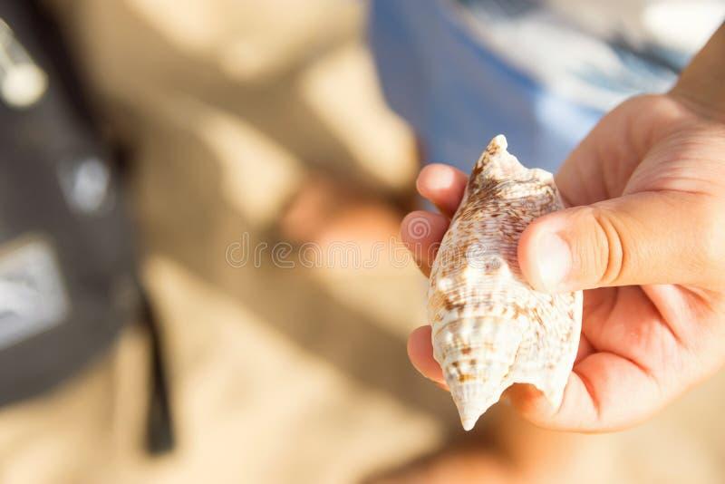 El pequeño niño que el muchacho caucásico en pantalones cortos azules se coloca en la arena de la playa lleva a cabo a disposició imagen de archivo